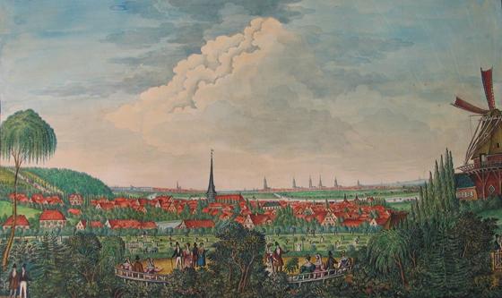 Harburg von der Südseite, 1838 (Künstler: Lenzner, Original: Helms-Museum, Harburg)