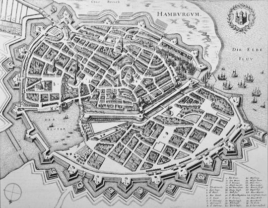 """""""Hambvrgvm"""" von Matthäus Merian dem Älteren. Aus: Merian, Matthäus (1653) Topographia Saxoniae Inferioris, Frankfurt am Main. Via Wikimedia Commons"""