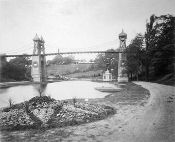 Hängebrücke auf der IGA 1869 (Foto: C. Damann, 1869)